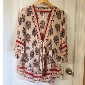 XHILARATION—DUSTY PEACH/BLUSH FLORAL KIMONO
